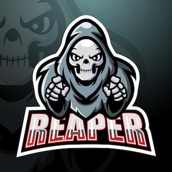 Design do logotipo do mascote do crânio reaper