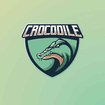 Design do logotipo do mascote do crocodilo para games, esport, youtube, streamer e twitch