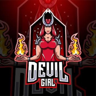 Design do logotipo do mascote do devil girl esport