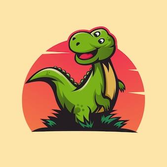 Design do logotipo do mascote do dinossauro