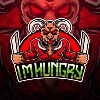 Design do logotipo do mascote do esporte bull