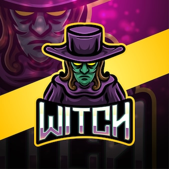 Design do logotipo do mascote do esporte de bruxa