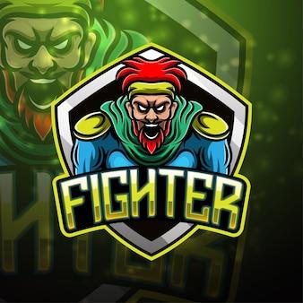 Design do logotipo do mascote do esporte de lutador