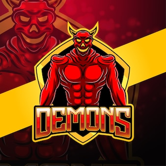 Design do logotipo do mascote do esporte demon