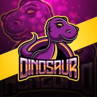 Design do logotipo do mascote do esporte dinossauro