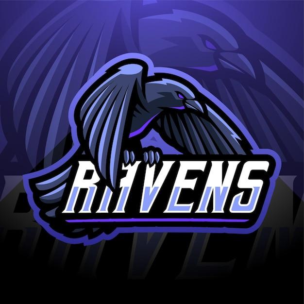 Design do logotipo do mascote do esporte dos ravens