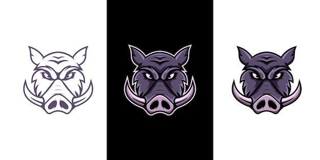 Design do logotipo do mascote do esporte e javali