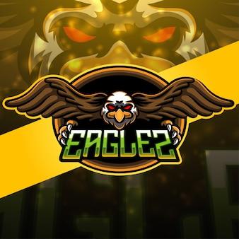 Design do logotipo do mascote do esporte eagle