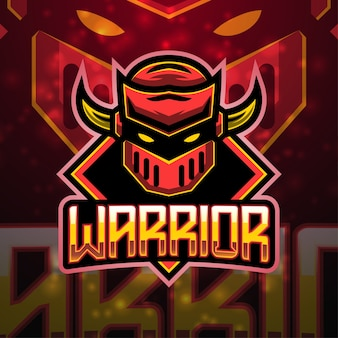 Design do logotipo do mascote do esporte guerreiro