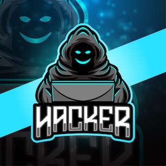 Design do logotipo do mascote do esporte hacker Vetor Premium