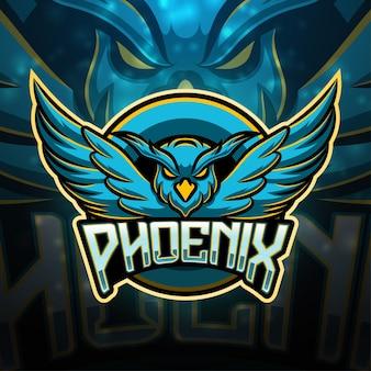 Design do logotipo do mascote do esporte phoenix