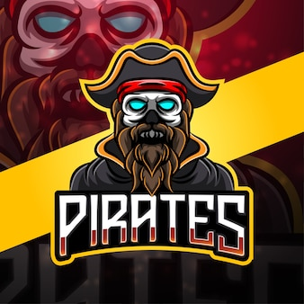 Design do logotipo do mascote do esporte piratas
