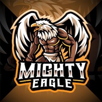 Design do logotipo do mascote do esporte poderoso águia