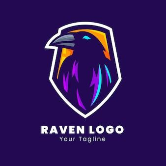 Design do logotipo do mascote do esporte raven
