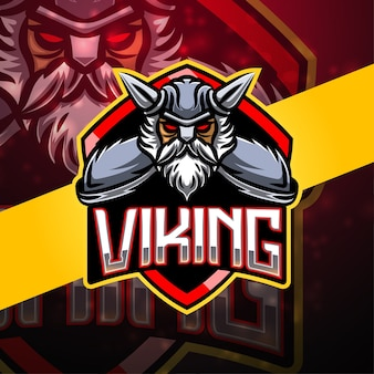 Design do logotipo do mascote do esporte viking