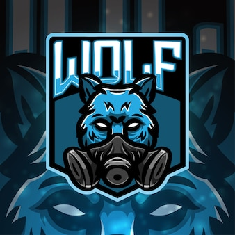 Design do logotipo do mascote do esporte wolf