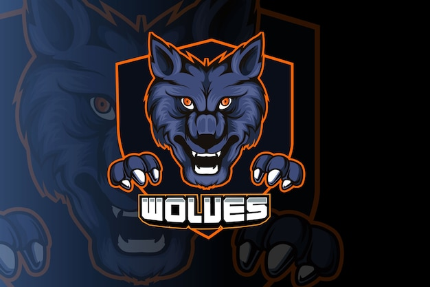 Design do logotipo do mascote do esporte wolves
