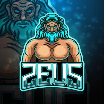 Design do logotipo do mascote do esporte zeus