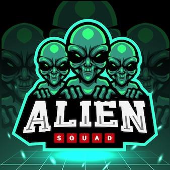 Design do logotipo do mascote do esquadrão alienígena esport