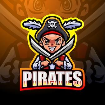 Design do logotipo do mascote do garoto pirata esport