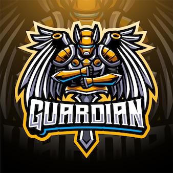 Design do logotipo do mascote do guardian eesports