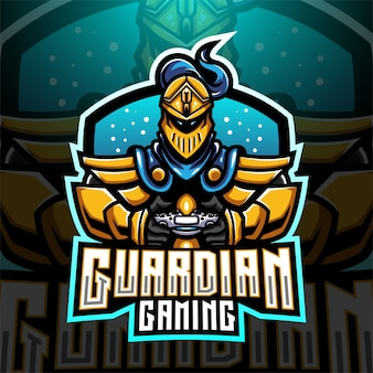 Design do logotipo do mascote do guardian gaming