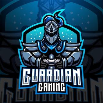Design do logotipo do mascote do guardian gaming