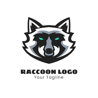 Design do logotipo do mascote do guaxinim
