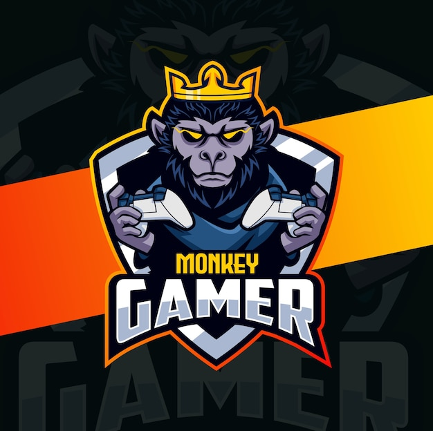 Design do logotipo do mascote do jogador do chimpanzé macaco esport
