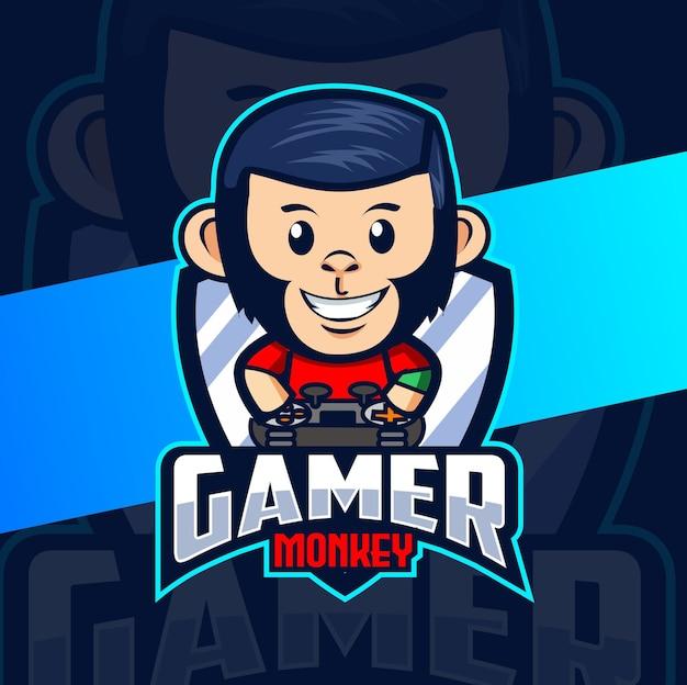 Design do logotipo do mascote do jogador do chimpanzé macaco esport