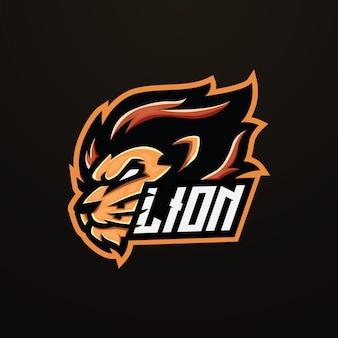 Design do logotipo do mascote do leão esport