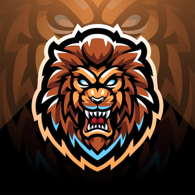 Design do logotipo do mascote do lion head.