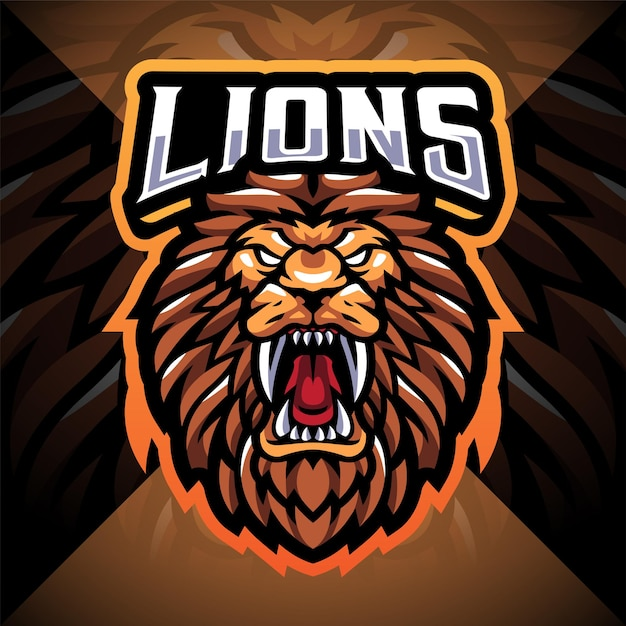 Design do logotipo do mascote do lion head