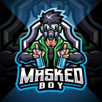 Design do logotipo do mascote do mascarado menino