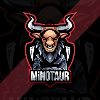 Design do logotipo do mascote do minotauro
