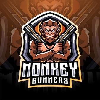 Design do logotipo do mascote do monkey gunner e