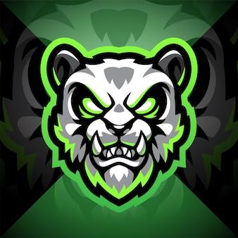 Design do logotipo do mascote do panda head esport