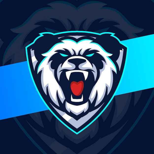 Design do logotipo do mascote do panda louco esport