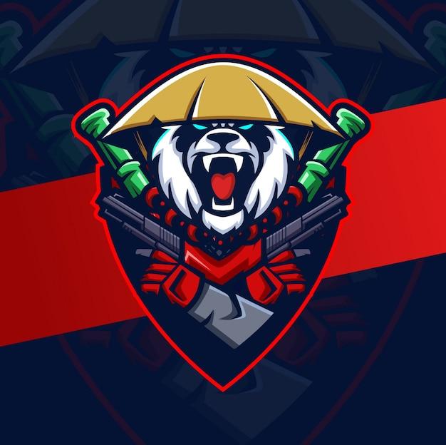 Design do logotipo do mascote do panda louco esport