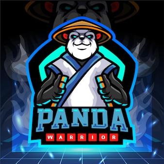 Design do logotipo do mascote do panda warrior