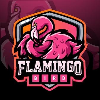 Design do logotipo do mascote do pássaro flamingo