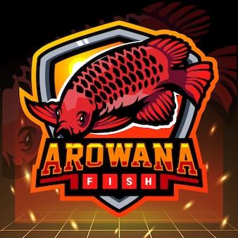 Design do logotipo do mascote do peixe aruanã