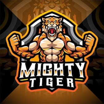Design do logotipo do mascote do poderoso tigres esport