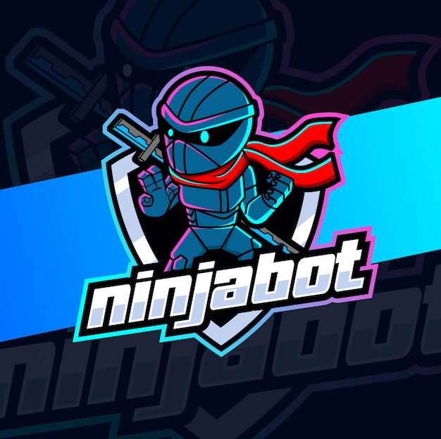 Design do logotipo do mascote do robô ninja