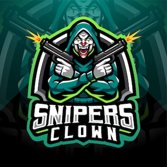 Design do logotipo do mascote do snipers palhaço esport