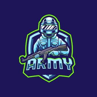 Design do logotipo do mascote do soldado do exército