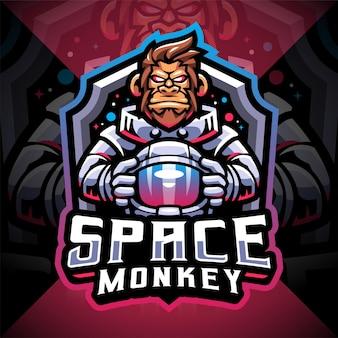 Design do logotipo do mascote do space monkey esport