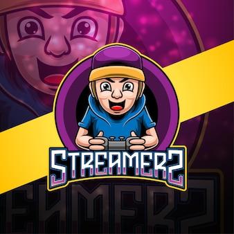 Design do logotipo do mascote do streamers esport