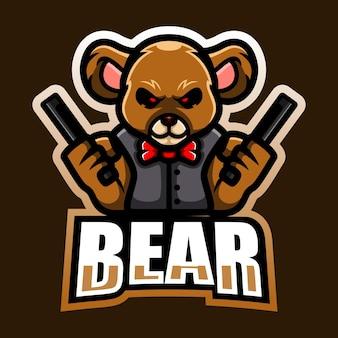 Design do logotipo do mascote do urso artilheiro e esport