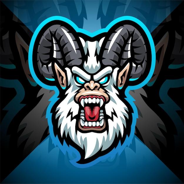 Design do logotipo do mascote do yeti head esport